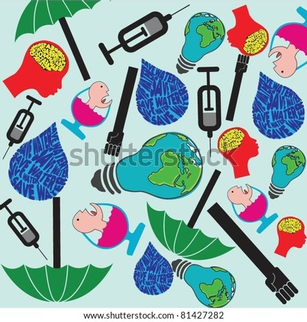 Global icons - stock vector