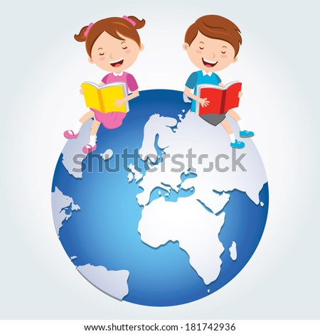 Global kids reading, Africa, Middle East and Europe Continents. - stock vector
