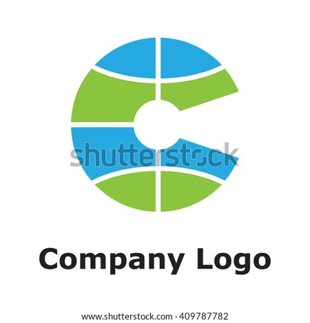"""Global Letter """"C"""" and keyhole logo in blue&green colors - stock vector"""