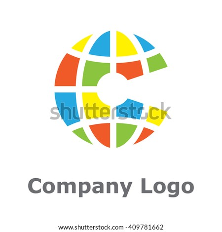 """Global Letter """"C"""" in bright colors - stock vector"""