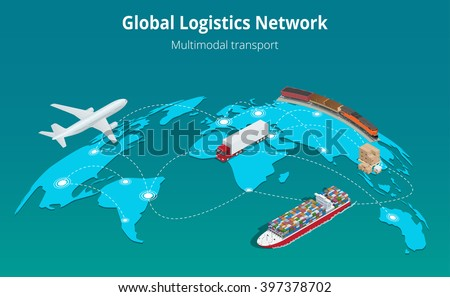 Global logistics network. Flat 3d isometric vector illustration Air cargo trucking rail transportation maritime shipping. On-time delivery. Vehicles designed to carry large numbers cargo - stock vector
