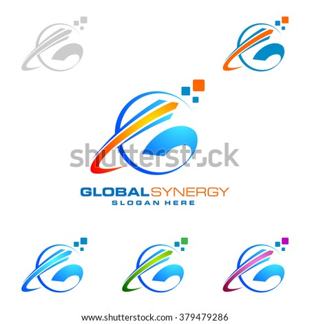Global logo with ring sphere and digital colorful modern vector logo design - stock vector