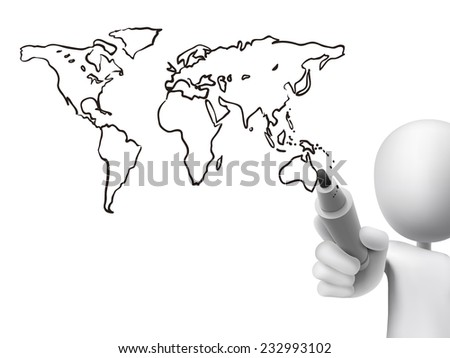 global map drawn by 3d man over transparent board - stock vector