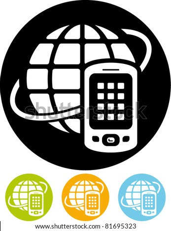 Global mobile communication vector icon - stock vector