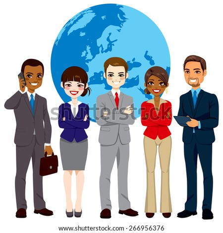 Global multi ethnic team of successful businesspeople standing with confident look in front world earth globe background - stock vector