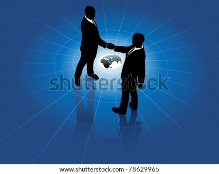 Global network business men partner in a  handshake for world agreement - stock vector