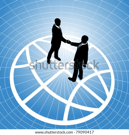 Global network business men partner in a  handshake for world agreement - stock vector