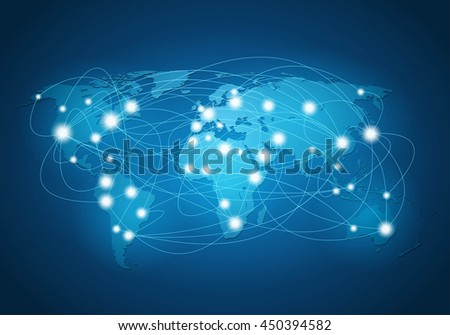 Global network connection - stock vector