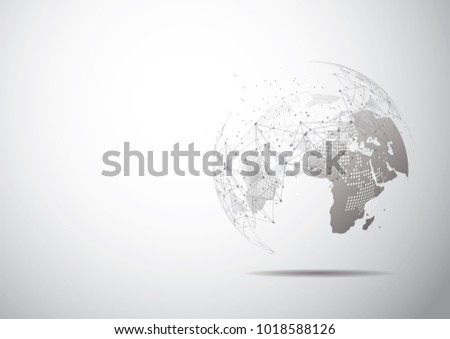 Drawing Lines In Mappoint : Global network connection world map point stock vector