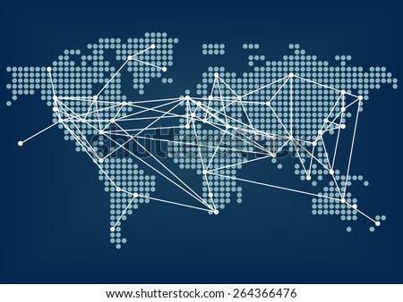 Global network connectivity represented by dark blue world map with connected lines between cities - stock vector