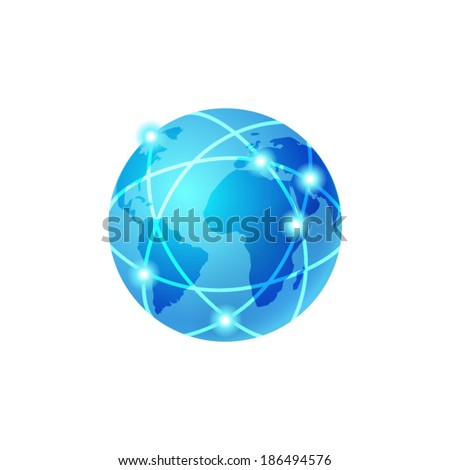 Global network icon - stock vector