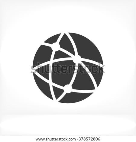 Global network Icon, Global network icon flat, Global network icon picture, Global network icon vector, Global network icon EPS10, Global network icon graphic, Global network icon object - stock vector
