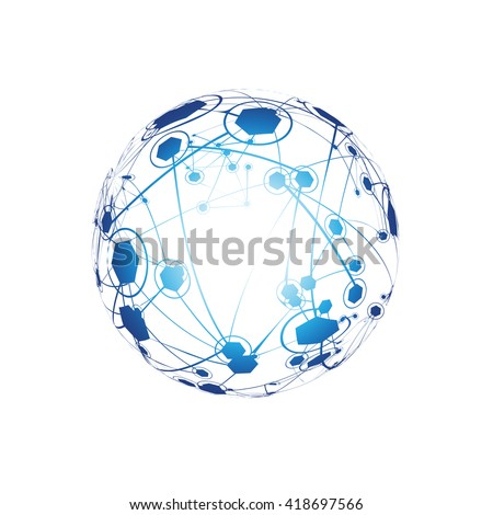 Global Network On White Background - Vector Illustration, Graphic Design. Point And Curve Constructed The Sphere