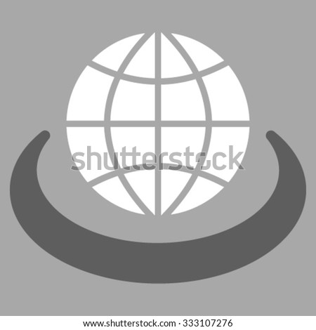 Global Network vector icon. Style is bicolor flat symbol, dark gray and white colors, rounded angles, silver background. - stock vector