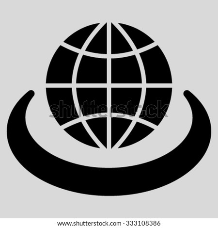 Global Network vector icon. Style is flat symbol, black color, rounded angles, light gray background. - stock vector