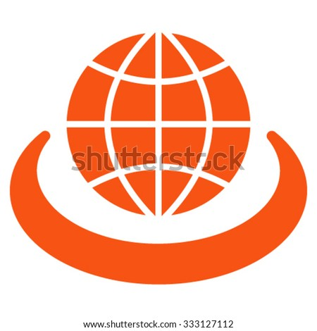 Global Network vector icon. Style is flat symbol, orange color, rounded angles, white background. - stock vector