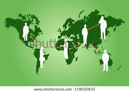 Global networking image the world map and silhouettes on a colorful green background. - stock vector