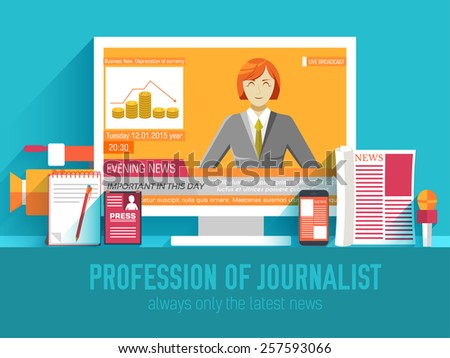 global news information equipment for journalist background concept. Icons flat style on blue  concept. Vector illustration for colorful template for you design, web and mobile applications - stock vector