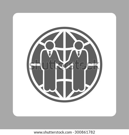Global partnership icon. Vector style is dark gray and white colors, flat rounded square button on a silver background. - stock vector
