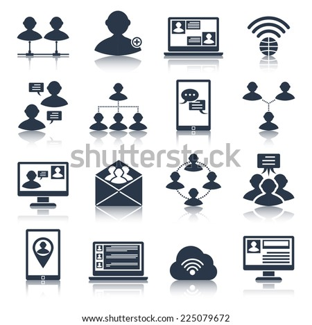 Global people communication social media network connection black icons set isolated vector illustration - stock vector