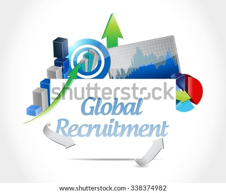Global Recruitment business graph sign concept illustration design graphic - stock vector