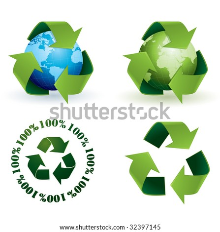 Global recycling icons - stock vector