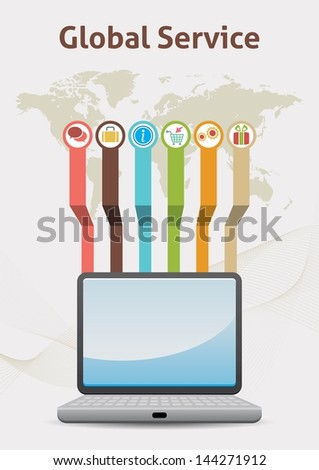 Global Service Idea Infographic - stock vector