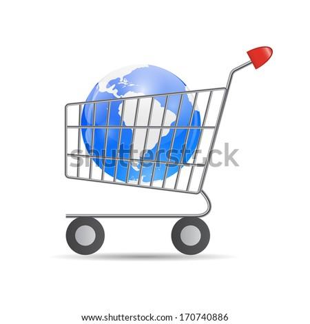 Global Shopping Concept Vector illustration   - stock vector