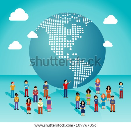 Global social media people network connection from The Americas map. Vector illustration layered for easy manipulation and custom coloring. - stock vector