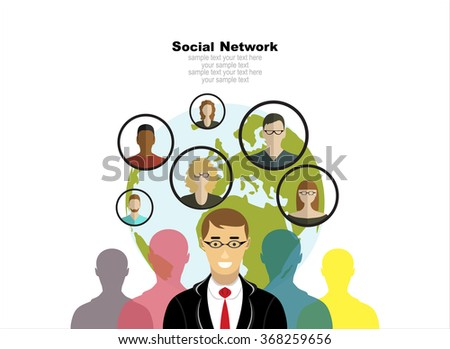Global social network abstract scheme. Concepts web banner and printed materials. - stock vector