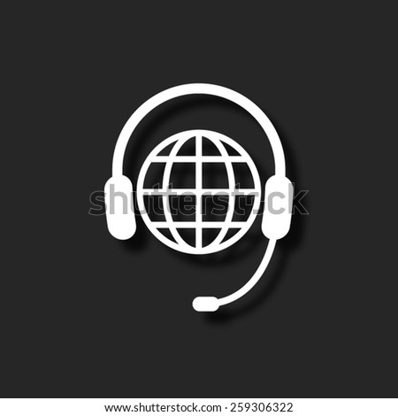 Global support or worldwide service  - vector icon with shadow - stock vector