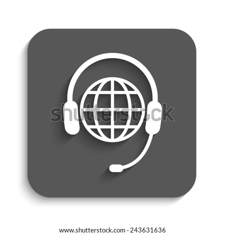 Global support or worldwide service - vector icon with shadow on a grey button