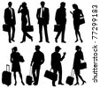global team, traveling people - vector silhouettes - stock vector