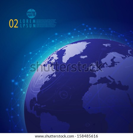 Global technology mesh network, vector illustration