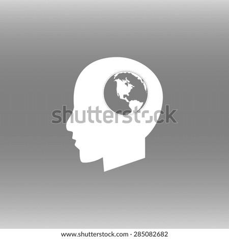 Global technology or social network icon, Modern man vector illustration. Flat design style - stock vector