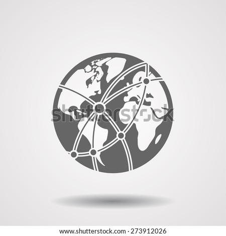 Global technology or social network  icon. Vector  Eps 10  - stock vector