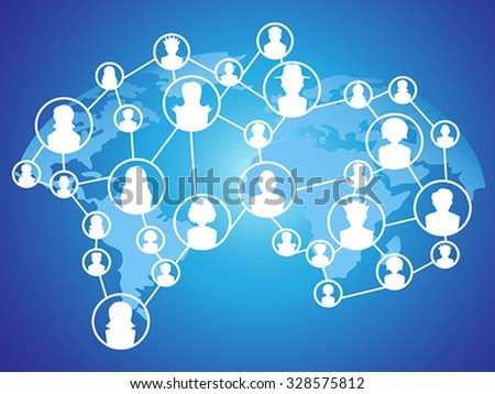 global technology social network - stock vector