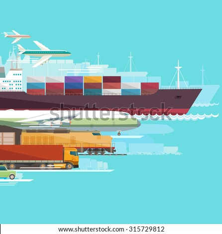 Global transportation. Flat design. - stock vector