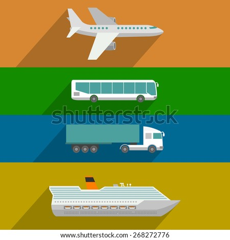 Global transportation. Plane, cruise liner, bus and truck icons. Flat design illustration - stock vector