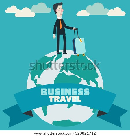 Global travel and journey modern illustration. International business travel and adventure vector concept. Businessman with suitcase on globe earth. Background with blue sky and clouds - stock vector