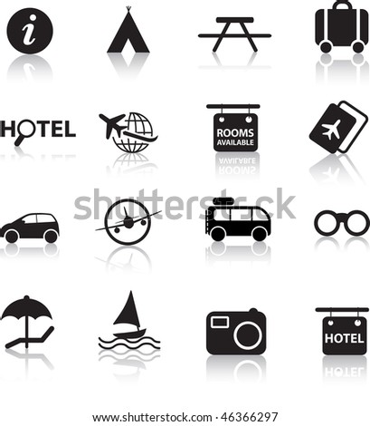 global travel and transport silhouette icon set - stock vector