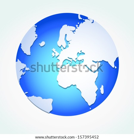 Global,  Vector illustration of Global map in Africa view. - stock vector