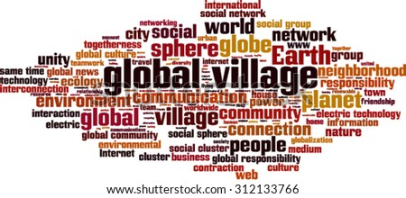 Global village word cloud concept. Vector illustration - stock vector