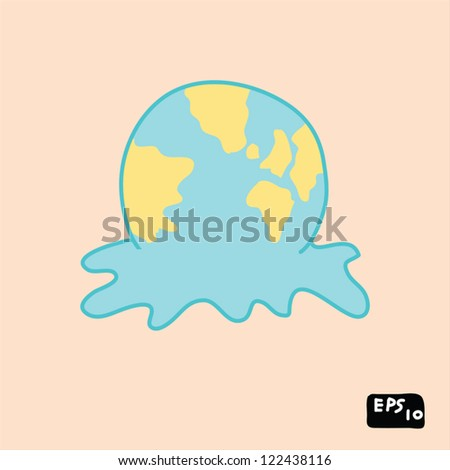 global warming concept, doodle hand drawing - stock vector