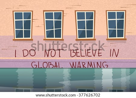 Global Warming Concept House Under Water Window Flood River Vector Illustration - stock vector