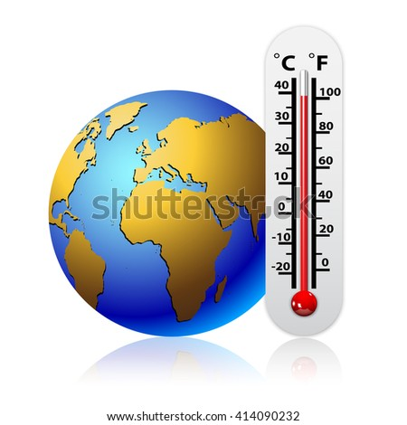 Global warming concept - Thermometer Close to the Earth
