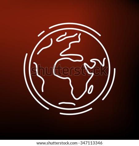Global warming earth icon. Red planet sign. World symbol. Thin line icon on red background. Vector illustration. - stock vector
