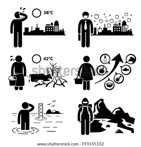 Global Warming Greenhouse Effects Stick Figure Pictogram Icons Cliparts - stock vector