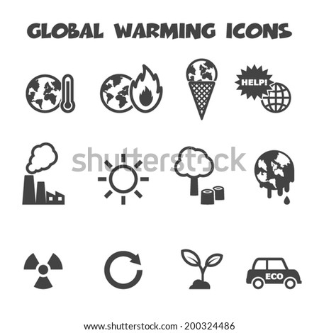 global warming icons, mono vector symbols - stock vector