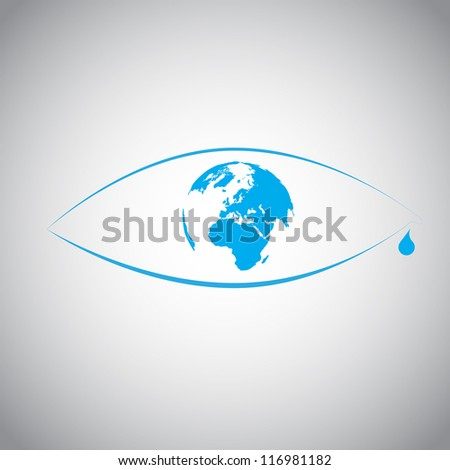 Global warming in an eye symbol - stock vector